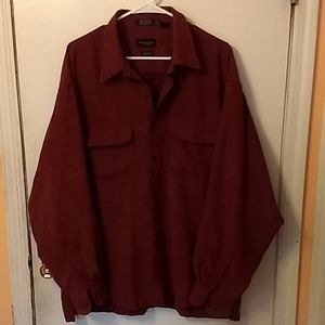Men's soft suede button down shirt chocolate brown